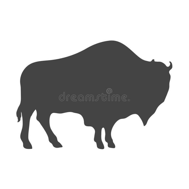 Bison Silhouette isolou-se no branco Vetor ilustração do vetor