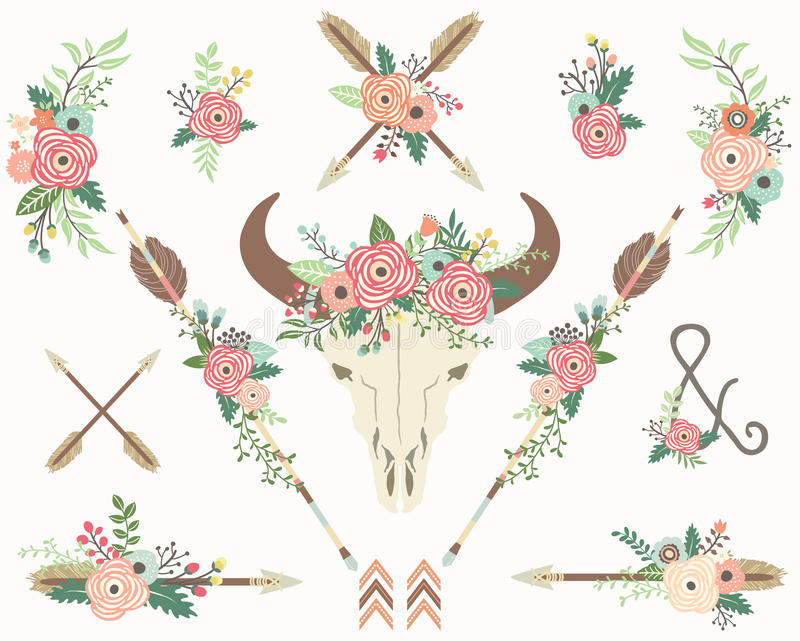 Bison Skull floral tribal illustration libre de droits