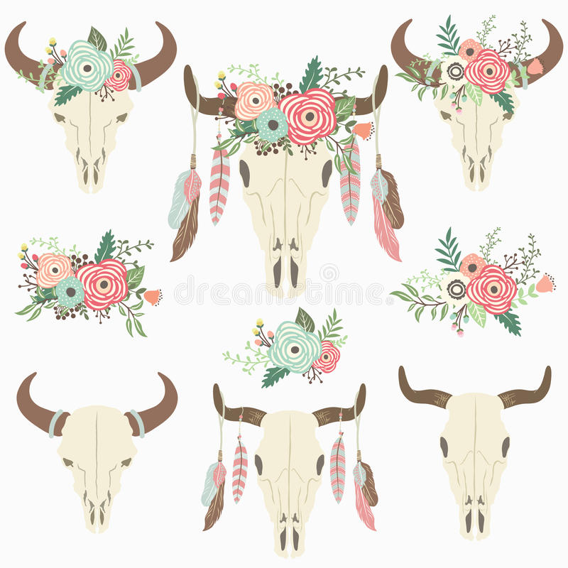 Bison Skull tribal floral illustration libre de droits