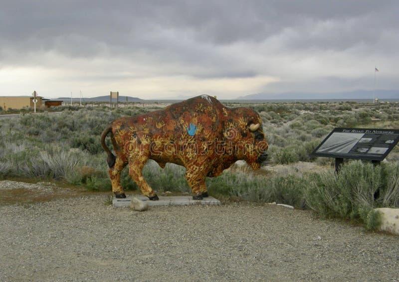 Bison Statue en el parque de isla estado del antílope, Salt Lake City, Utah foto de archivo