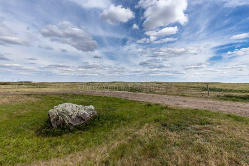 Bison Stone en la pradera de Canadá fotos de archivo libres de regalías