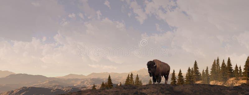 Bisonte de la montaña stock de ilustración