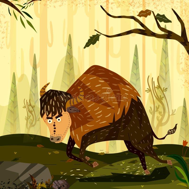 Bisonte del animal salvaje en fondo del bosque de la selva ilustración del vector