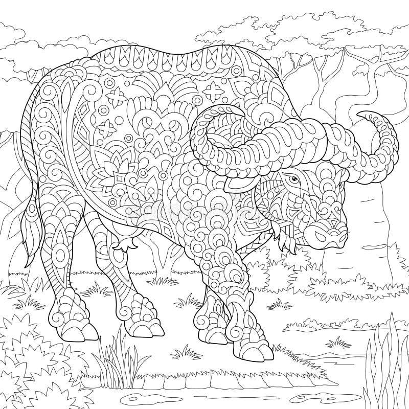 Bisonte do touro do búfalo de Zentangle ilustração stock