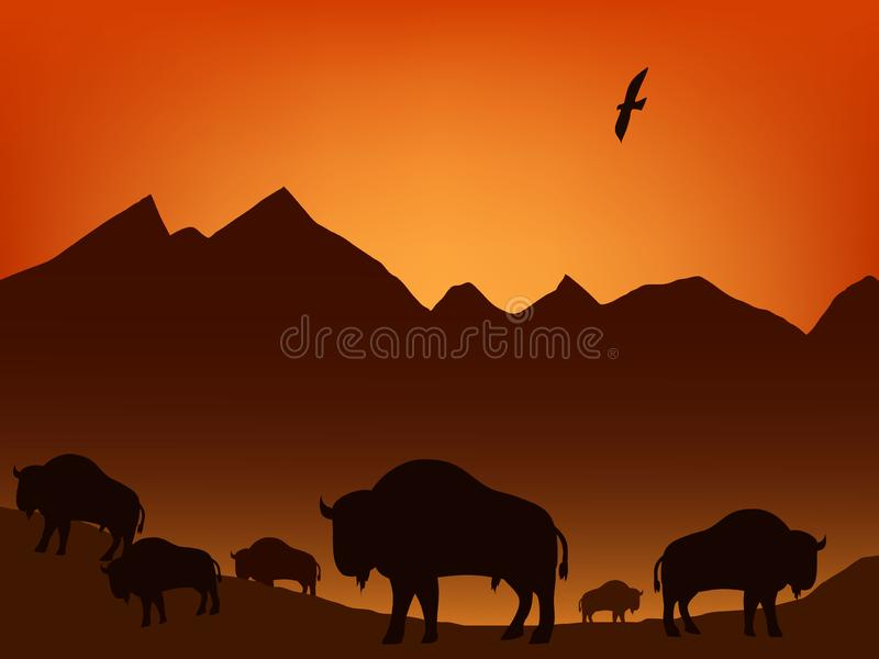 Bisonte en la pradera libre illustration