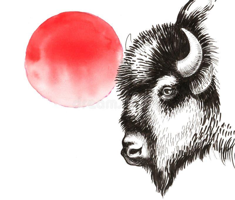 Bisonte y sol ilustración del vector