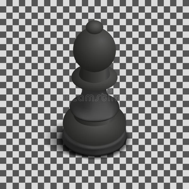 Bispo preto isométrico, ilustração da parte de xadrez do vetor ilustração stock