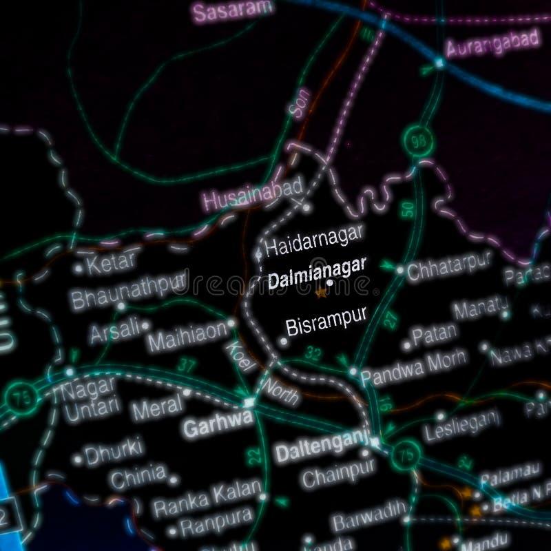 Bisrampur-Ortsname auf der geografischen Karte in Indien lizenzfreie stockbilder