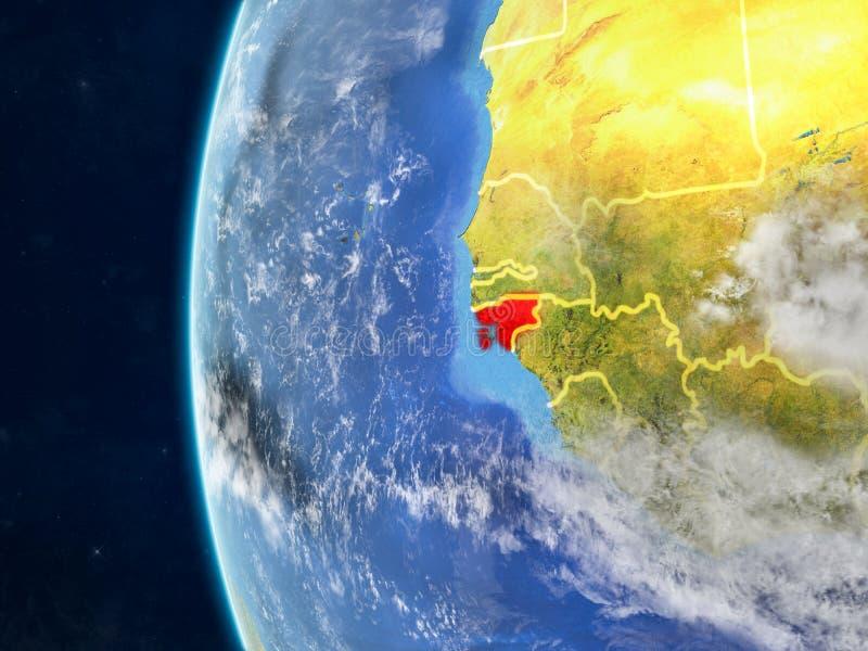 Bissau na kuli ziemskiej od przestrzeni ilustracji