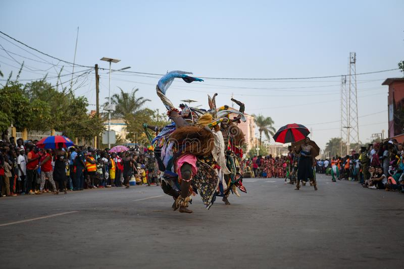 Group of dancers performing during the Carnival Celebrations in the city of Bisssau stock image