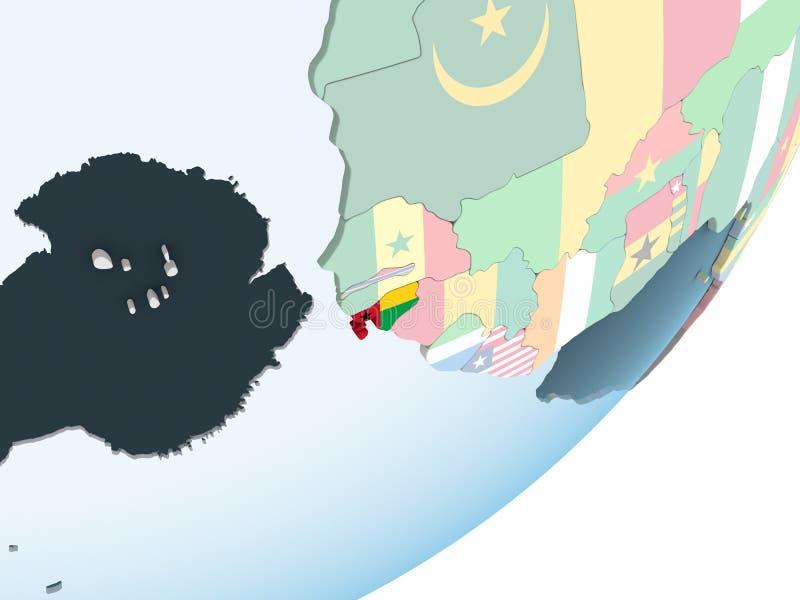 Bissau z flaga na kuli ziemskiej royalty ilustracja