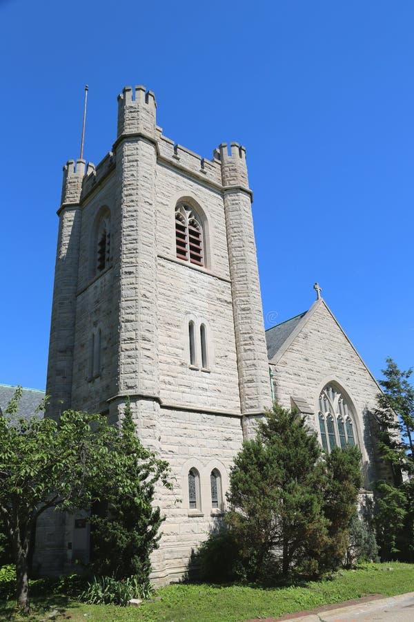Bisschoppelijke Kapel van St Cornelius Centurion op Gouverneurseiland in de Haven van New York stock foto