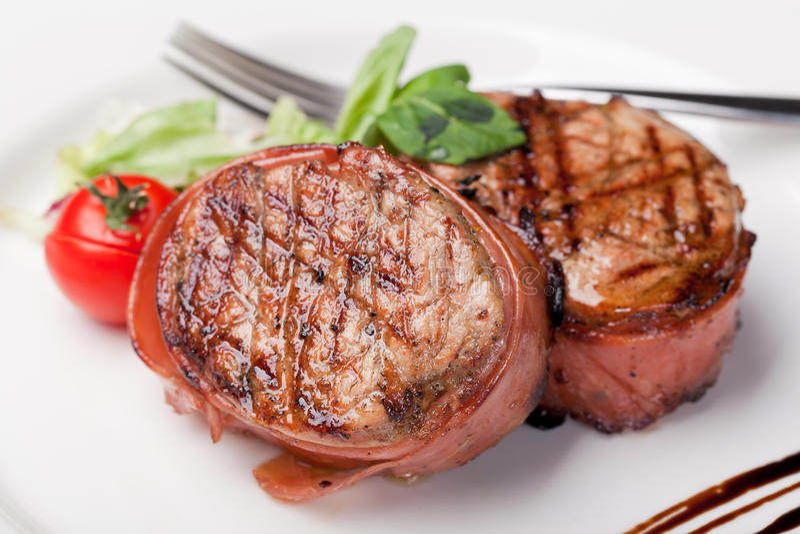 Bistecca cotta del bbq immagine stock