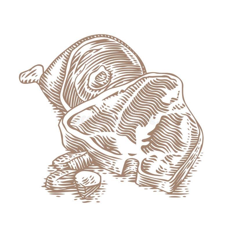 Bistecca della carne di maiale con la gamba della carne di maiale royalty illustrazione gratis