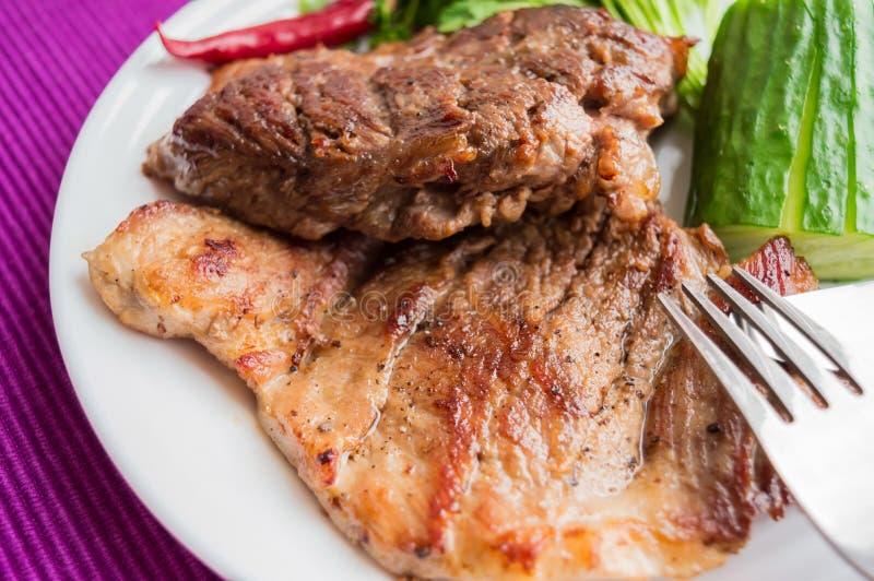 Bistecca della carne di maiale, grigliata immagini stock libere da diritti