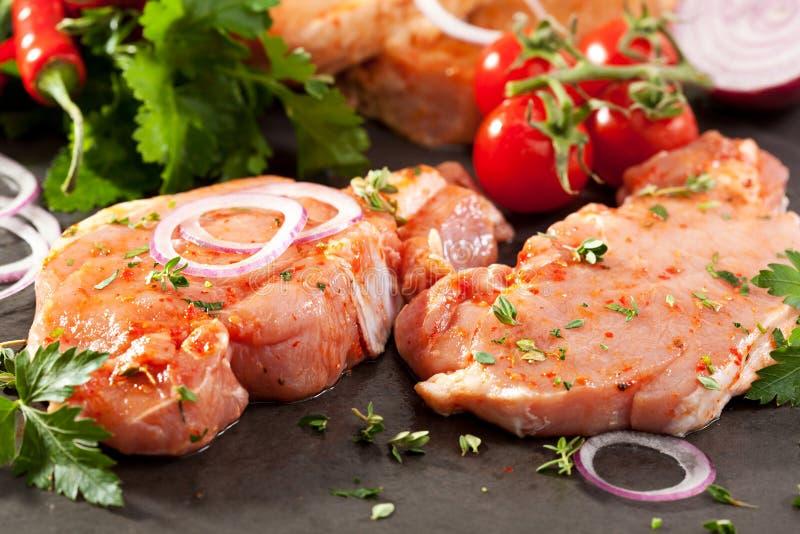 Bistecca della lonza di maiale fotografie stock libere da diritti