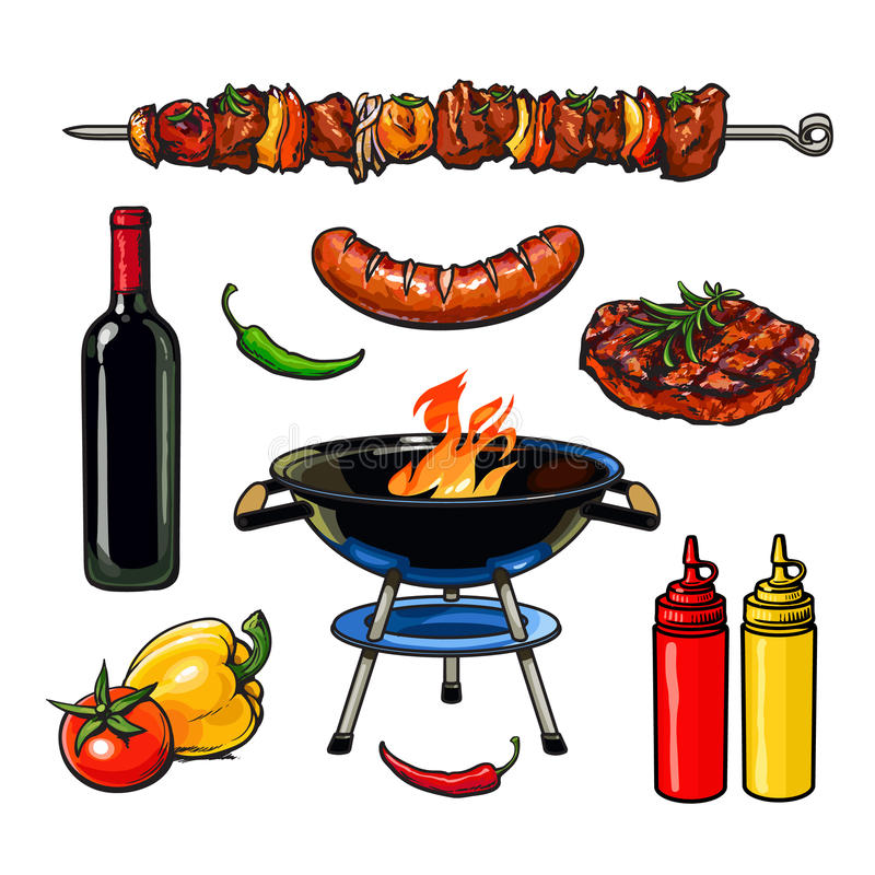 Bistecca della salsiccia della carne di kebab di schizzo con salsa royalty illustrazione gratis
