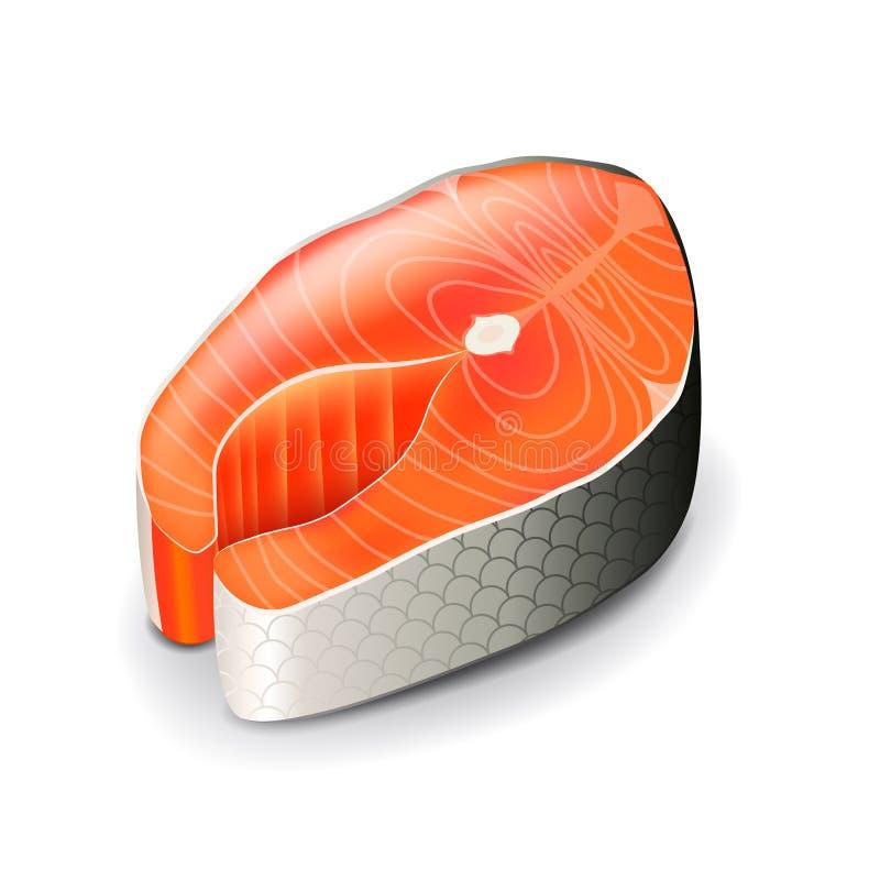 Bistecca di color salmone sul vettore bianco illustrazione vettoriale