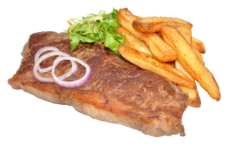 Bistecca di controfiletto e patatine fritte fotografia stock