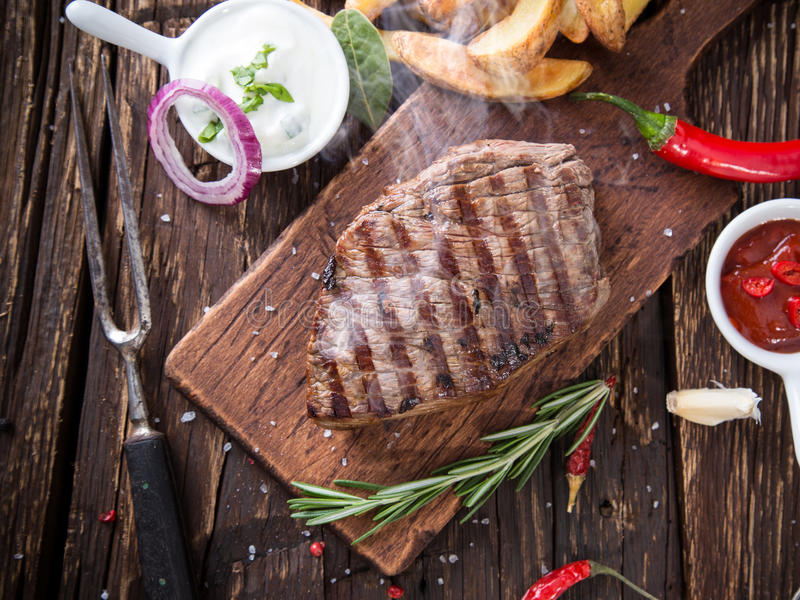 Bistecca di manzo deliziosa fotografia stock libera da diritti