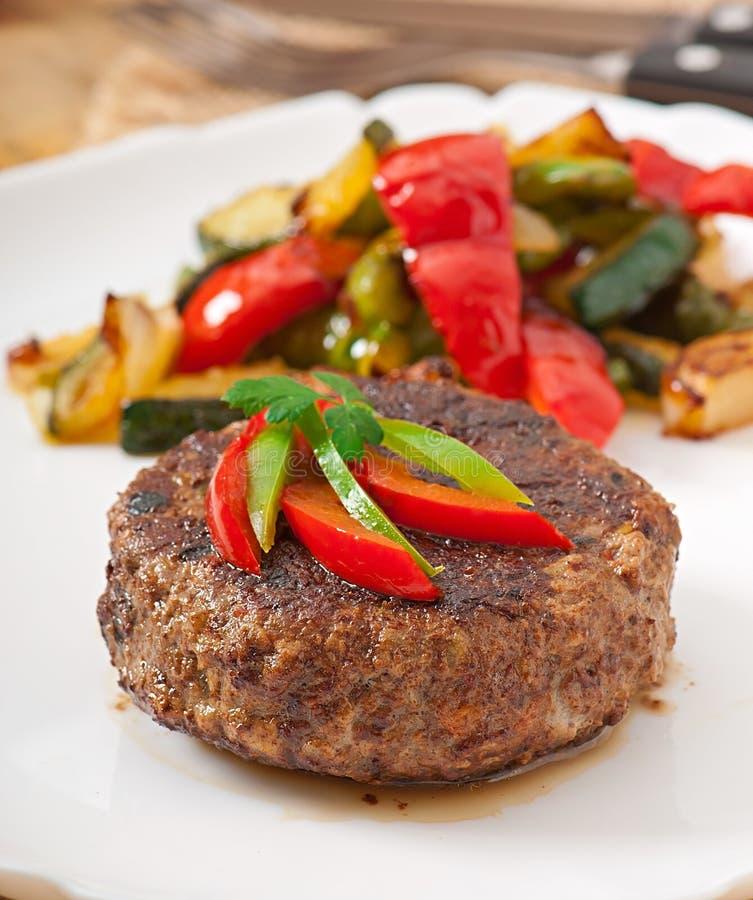 Bistecca di manzo dell'hamburger fotografia stock