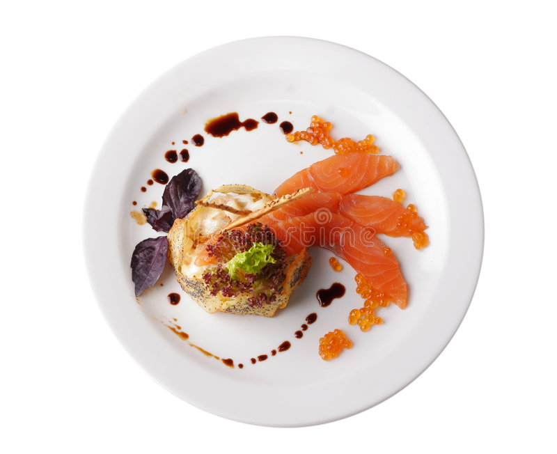 Bistecca di pesci rossa isolata su bianco immagini stock libere da diritti
