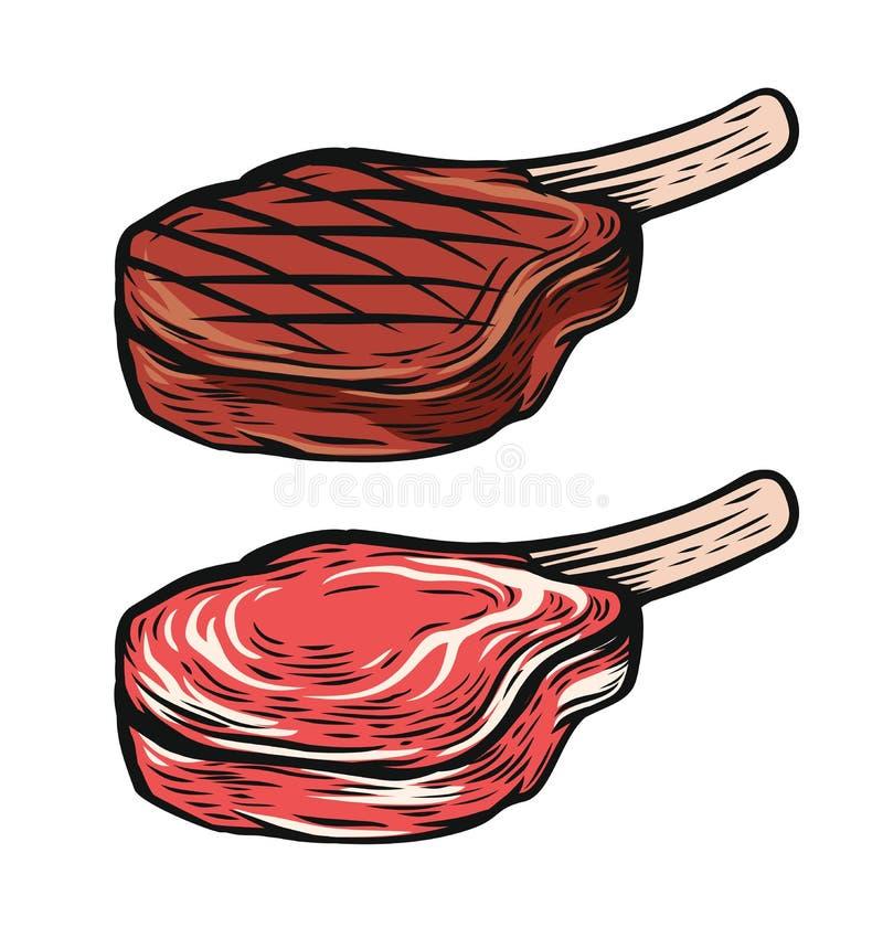 Bistecca fresca e cotta della carne illustrazione vettoriale