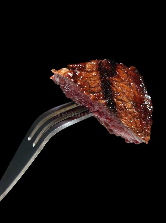 Bistecca sulla forcella immagini stock