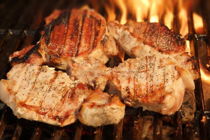 Bistecche cotte del porco fotografia stock libera da diritti