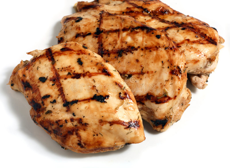 Bistecche cotte della carne del pollo   fotografia stock libera da diritti