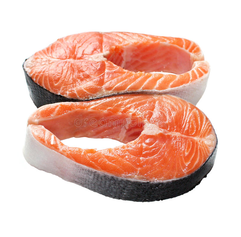 Bistecche di color salmone immagini stock