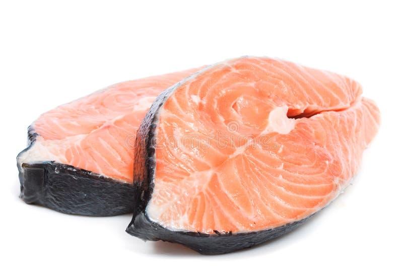 Bistecche di color salmone fotografie stock libere da diritti