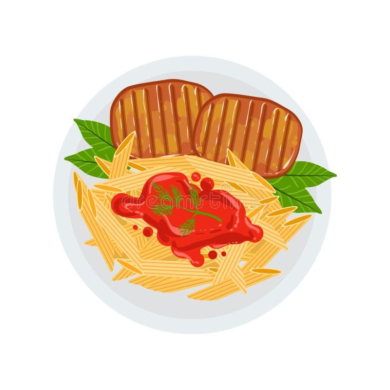 Bistecche di manzo arrostite con un lato di Penne Pasta Bolognese Vector Illustration di alimento cucinato sul piatto del menu de royalty illustrazione gratis