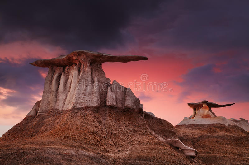 Bisti Badlands, New Mexico, USA stock photos