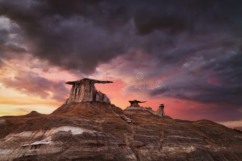 Bisti Badlands, Nuovo Messico, Stati Uniti fotografia stock libera da diritti
