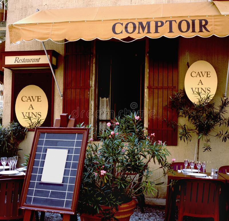 Bistro the Comptoir with wine cellar royalty free stock photography
