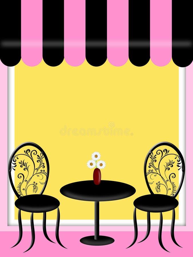 Bistro-Gaststätte mit Markisen-Tabelle und Stühlen lizenzfreie abbildung