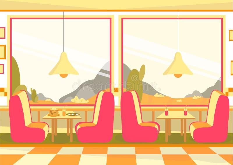 Bistro Restaurant, Cafeteria Dining Room Interior stock illustratie