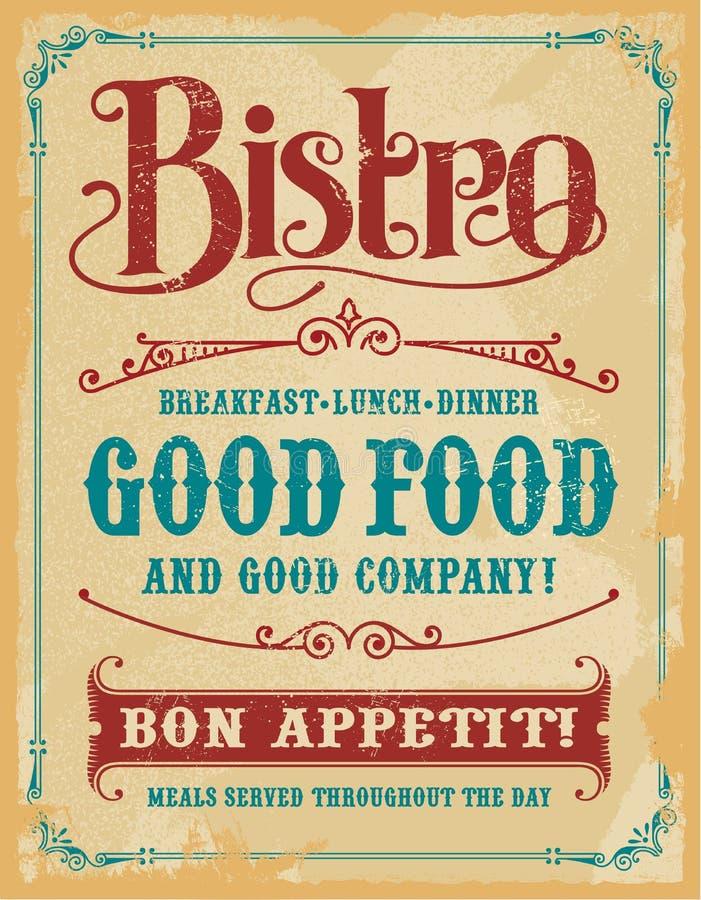 Bistro Restaurant Poster Sign stock photos
