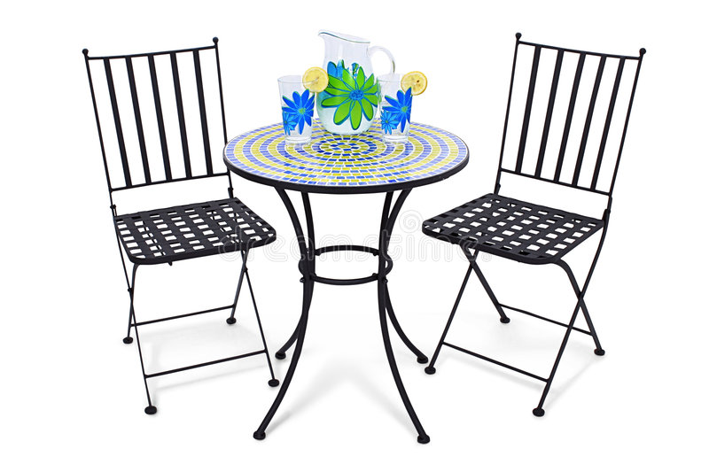 Bistro Table and Lemonade royalty free stock photos