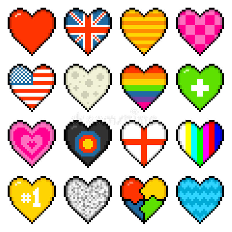 8-bit Assorted Pixel Hearts. 16 hearts of various designs in an 8-bit pixel art style royalty free illustration