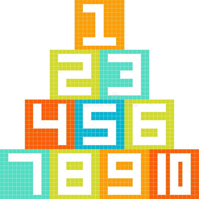 8-Bit-Blöcke der Pixel-Kunst-Zahl-1-10 vereinbart in einer Pyramide lizenzfreie abbildung