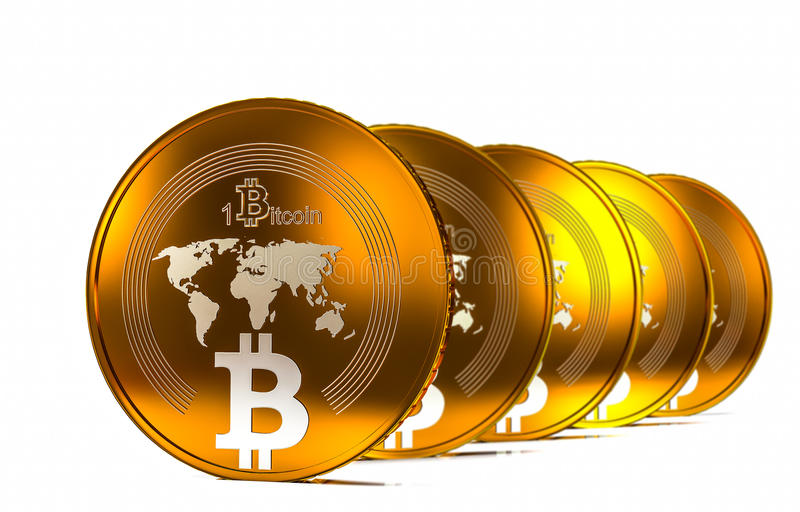 Bit coin BTC the new virtual mone, 3d render. Two bitcoins - bit coin BTC the new virtual money vector illustration