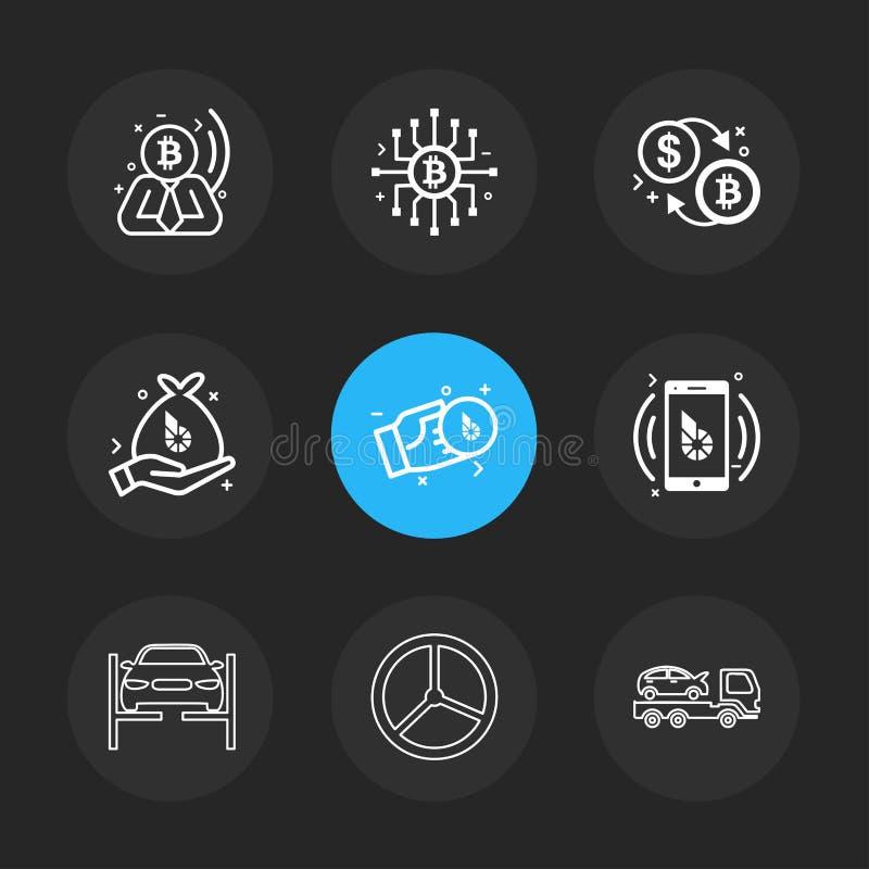 Bit coin , ic, dollar , money , mobile , car ,truck , transport stock illustration