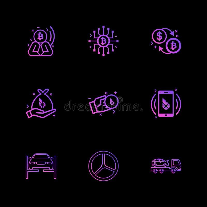 Bit coin , ic, dollar , money , mobile , car ,truck , transport royalty free illustration