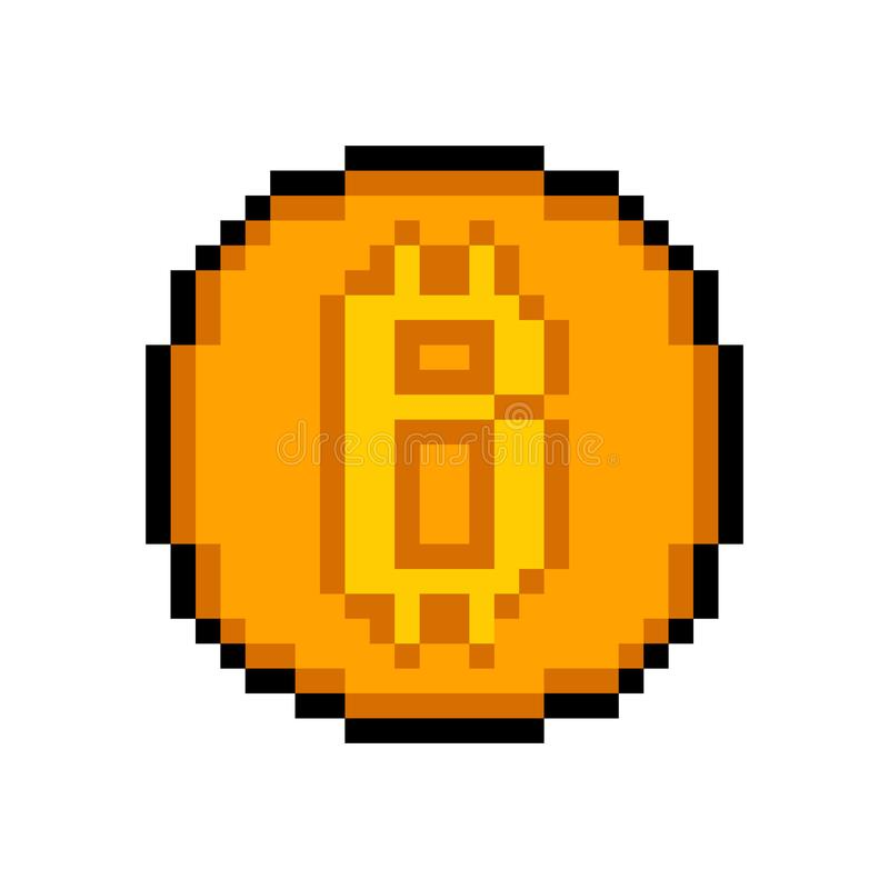 Bit Coin. Pixel Art. Bit Coin. The Internet Modern Currency. Flat Isolated Vector Icon on White Background vector illustration