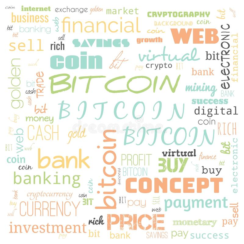 Bit coin text, word cloud,word cloud use for banner, painting, motivation, web-page, website background, t-shirt & shirt printing. Poster, gritting ( stock illustration