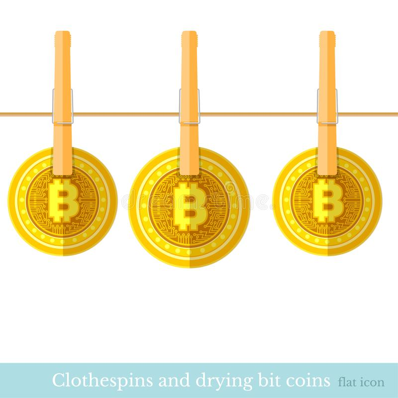 Bit coins dry on the rope flat design concepts illustration of finance and business on white vector illustration
