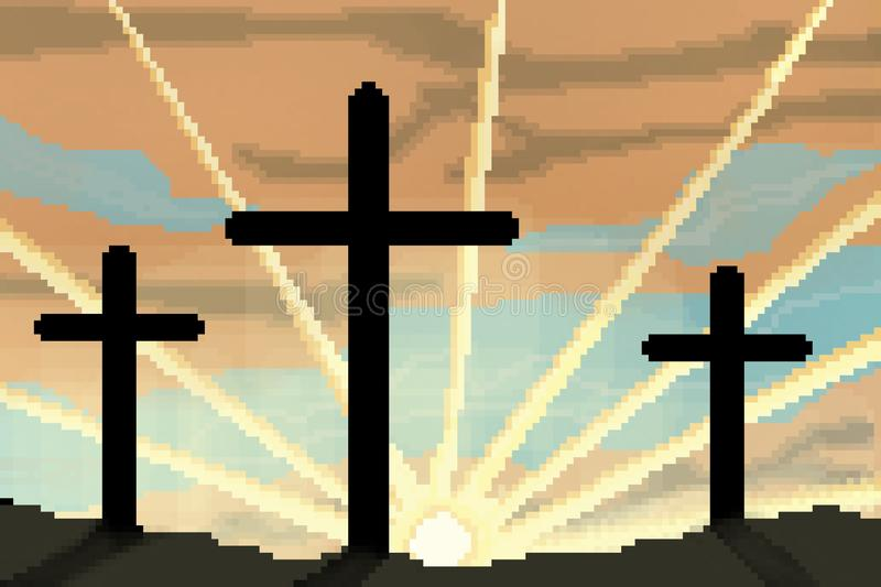 8 bit drawn easter sunrise with three crosses silhouetted. Pixel 8 bit drawn easter sunrise with three crosses silhouetted royalty free illustration