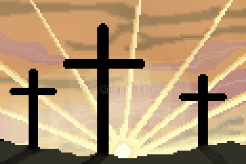 8 bit drawn easter sunrise with three crosses silhouetted. Pixel 8 bit drawn easter sunrise with three crosses silhouetted vector illustration
